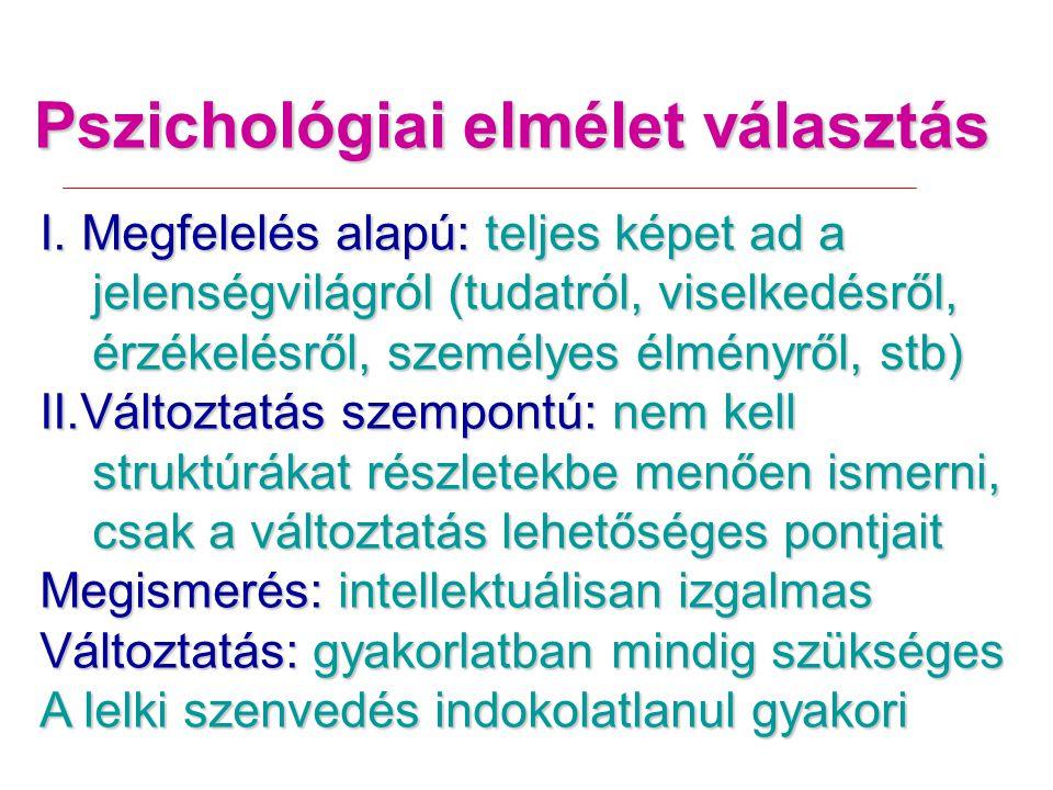 Pszichológiai elmélet választás I.