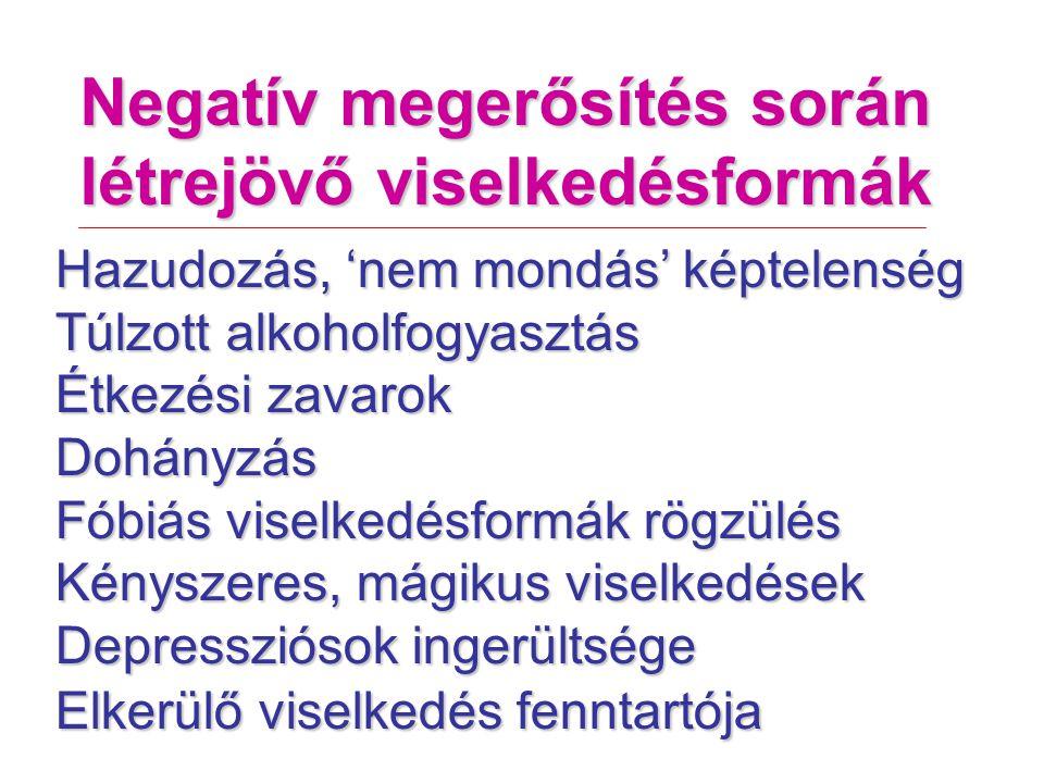 Negatív megerősítés során létrejövő viselkedésformák Hazudozás, 'nem mondás' képtelenség Túlzott alkoholfogyasztás Étkezési zavarok Dohányzás Fóbiás viselkedésformák rögzülés Kényszeres, mágikus viselkedések Depressziósok ingerültsége Elkerülő viselkedés fenntartója