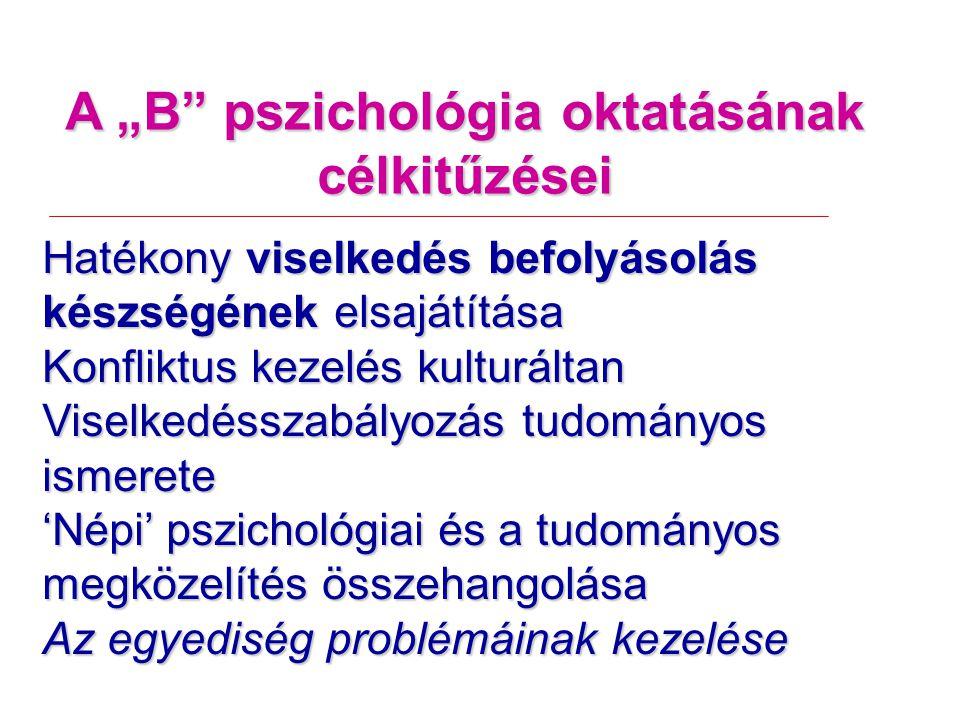 """A """"B pszichológia oktatásának célkitűzései Hatékony viselkedés befolyásolás készségének elsajátítása Konfliktus kezelés kulturáltan Viselkedésszabályozás tudományos ismerete 'Népi' pszichológiai és a tudományos megközelítés összehangolása Az egyediség problémáinak kezelése"""