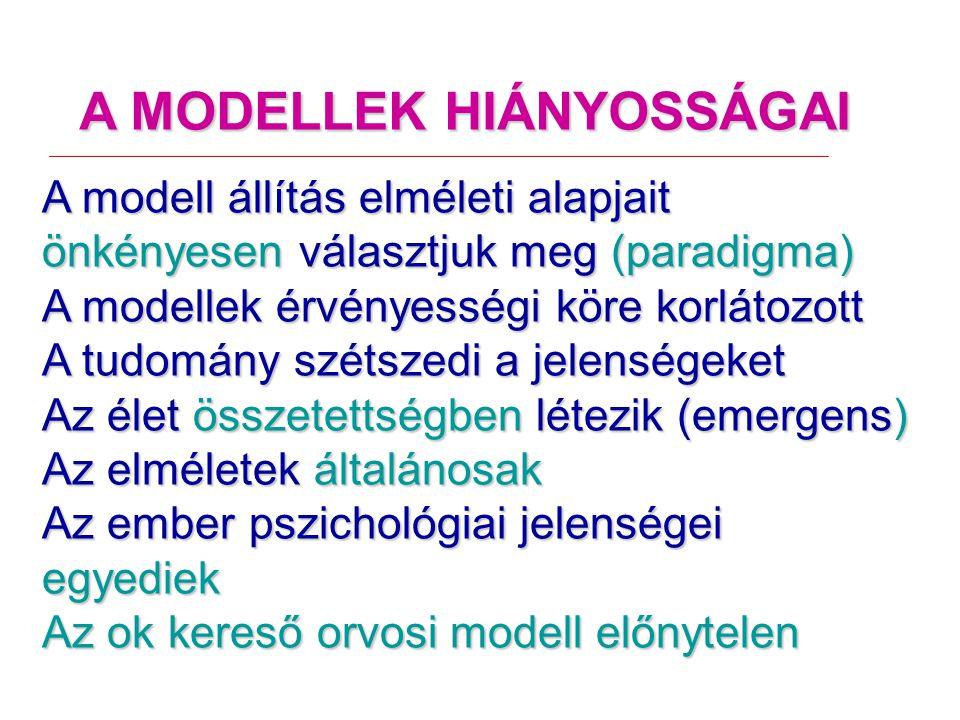 A MODELLEK HIÁNYOSSÁGAI A modell állítás elméleti alapjait önkényesen választjuk meg (paradigma) A modellek érvényességi köre korlátozott A tudomány szétszedi a jelenségeket Az élet összetettségben létezik (emergens) Az elméletek általánosak Az ember pszichológiai jelenségei egyediek Az ok kereső orvosi modell előnytelen