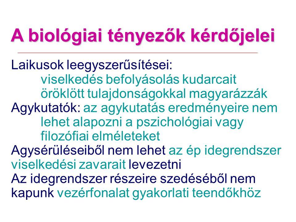 A biológiai tényezők kérdőjelei Laikusok leegyszerűsítései: viselkedés befolyásolás kudarcait öröklött tulajdonságokkal magyarázzák Agykutatók: az agykutatás eredményeire nem lehet alapozni a pszichológiai vagy filozófiai elméleteket Agysérüléseiből nem lehet az ép idegrendszer viselkedési zavarait levezetni Az idegrendszer részeire szedéséből nem kapunk vezérfonalat gyakorlati teendőkhöz