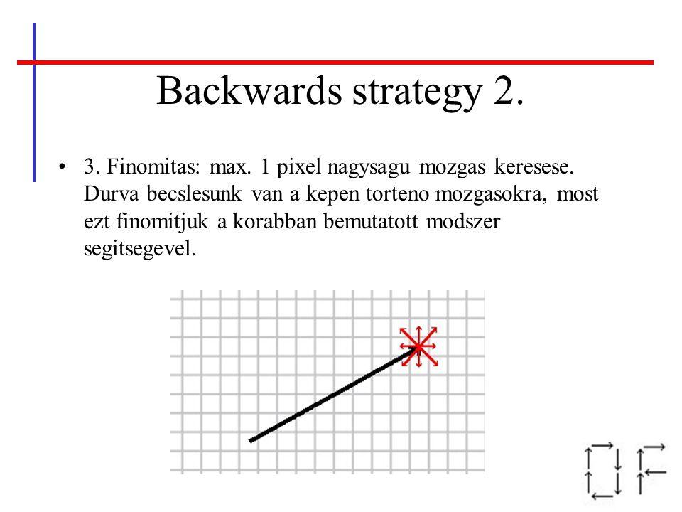 Backwards strategy 2. 3. Finomitas: max. 1 pixel nagysagu mozgas keresese. Durva becslesunk van a kepen torteno mozgasokra, most ezt finomitjuk a kora