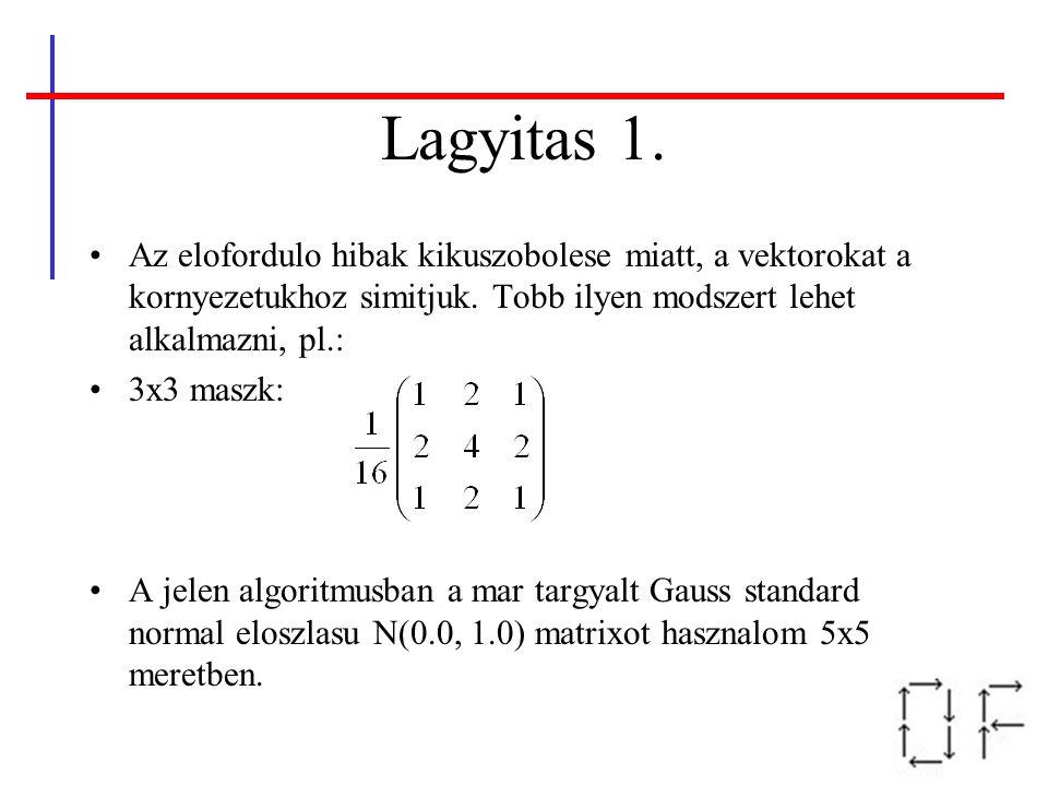 Az elofordulo hibak kikuszobolese miatt, a vektorokat a kornyezetukhoz simitjuk. Tobb ilyen modszert lehet alkalmazni, pl.: 3x3 maszk: A jelen algorit