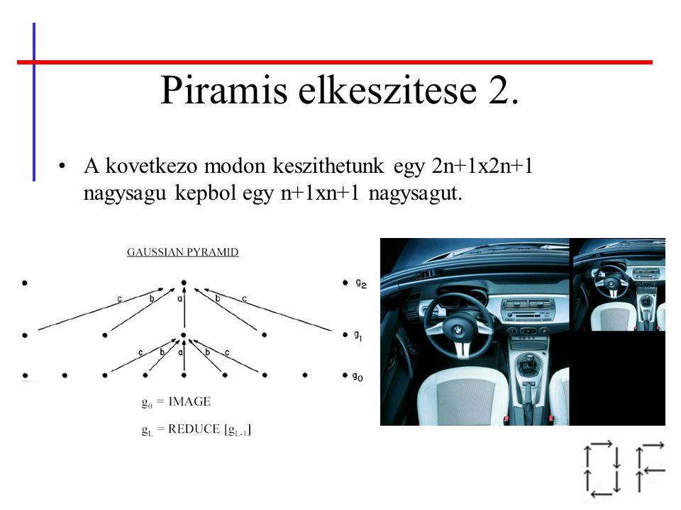 Piramis elkeszitese 2. A kovetkezo modon keszithetunk egy 2n+1x2n+1 nagysagu kepbol egy n+1xn+1 nagysagut.