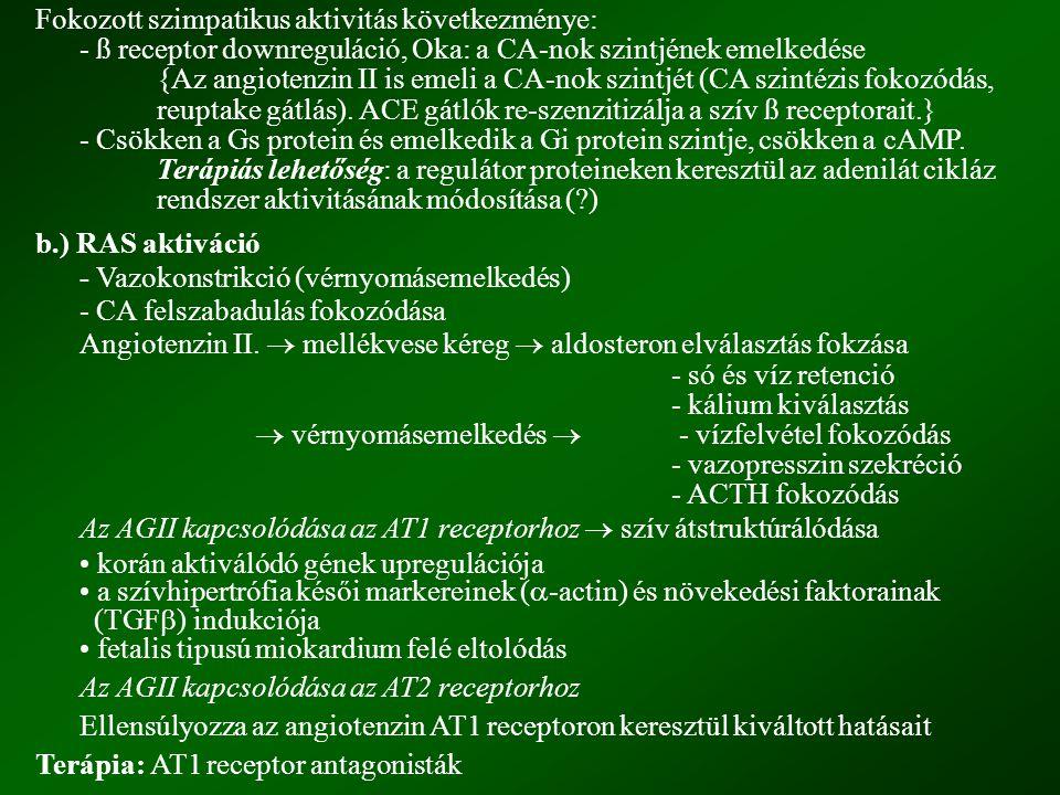 c.) Hiperaldosteronémia Az AGII fokozza az aldosteron szekréciót.