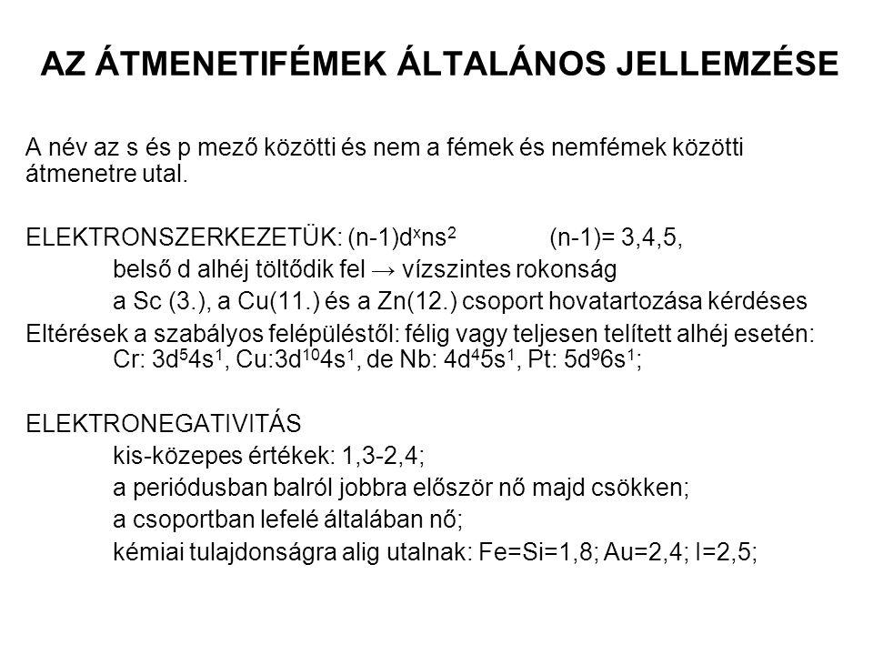 AZ ÁTMENETIFÉMEK ÁLTALÁNOS JELLEMZÉSE ATOM- ÉS IONMÉRET atomméret: átmenetifém kontrakció (növekvő effektív magtöltés) d 0 d 1 d 2 d 3 d 4 d 5 d 6 d 7 d 8 d 9 d 10 Ca Sc Ti V Cr Mn Fe Co Ni Cu Zn 174144 132 122 118 117 117 116 115 117 125r atom (pm) ionméret:+2 töltésűek (kontrakció + kristálytér stabilizációs energia) 100 - 86 79 80 82 78 75 69 73 74r ion (pm) csoportban lefelér3d < r4d < r5d Elemr atom r ion Ti13268Cr11852 Zr14580Mo13062 Hf14481W13068 (lantanoida kontrakció, ami tovább csökkenti az 5d sor méretét.)