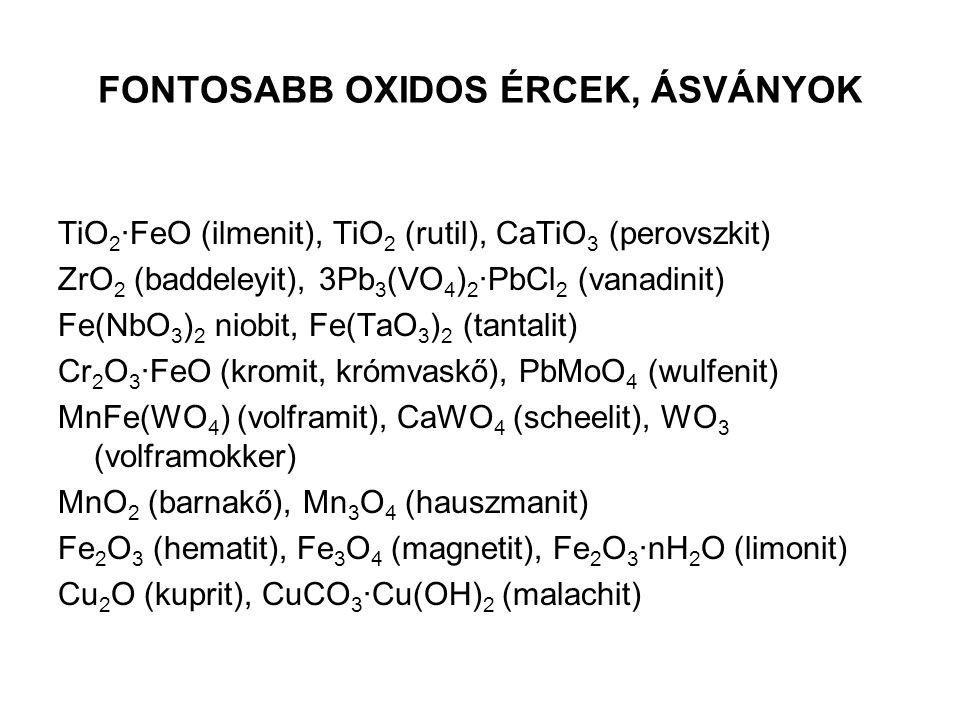 FONTOSABB OXIDOS ÉRCEK, ÁSVÁNYOK TiO 2 ∙FeO (ilmenit), TiO 2 (rutil), CaTiO 3 (perovszkit) ZrO 2 (baddeleyit), 3Pb 3 (VO 4 ) 2 ∙PbCl 2 (vanadinit) Fe(