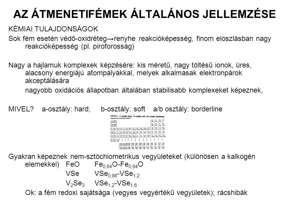 ÁTMENETIFÉMEK HALOGENIDJEI ELŐÁLLÍTÁSUK fémből X 2 atmoszférában magas hőmérsékleten 2Fe + 3Cl 2 = 2FeCl 3 fémoxidból halogénnel (halogén-metallurgia) TiO 2 + 2C + 2Cl 2 = TiCl 4 + 2CO fém oldása sósavban – kristályvizes halogenid FeX 2 ∙nH 2 Okristályvíz eltávolítható hevítéssel FeX 3 ∙nH 2 O(oxidálódik) hevítéssel hidrolizál kristályvíztartalmú só+ halogénező szer pl.