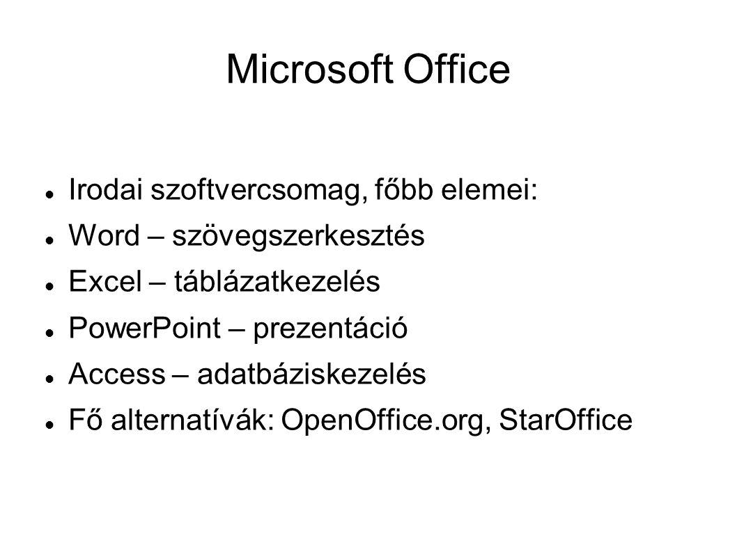 Microsoft Office Irodai szoftvercsomag, főbb elemei: Word – szövegszerkesztés Excel – táblázatkezelés PowerPoint – prezentáció Access – adatbáziskezel