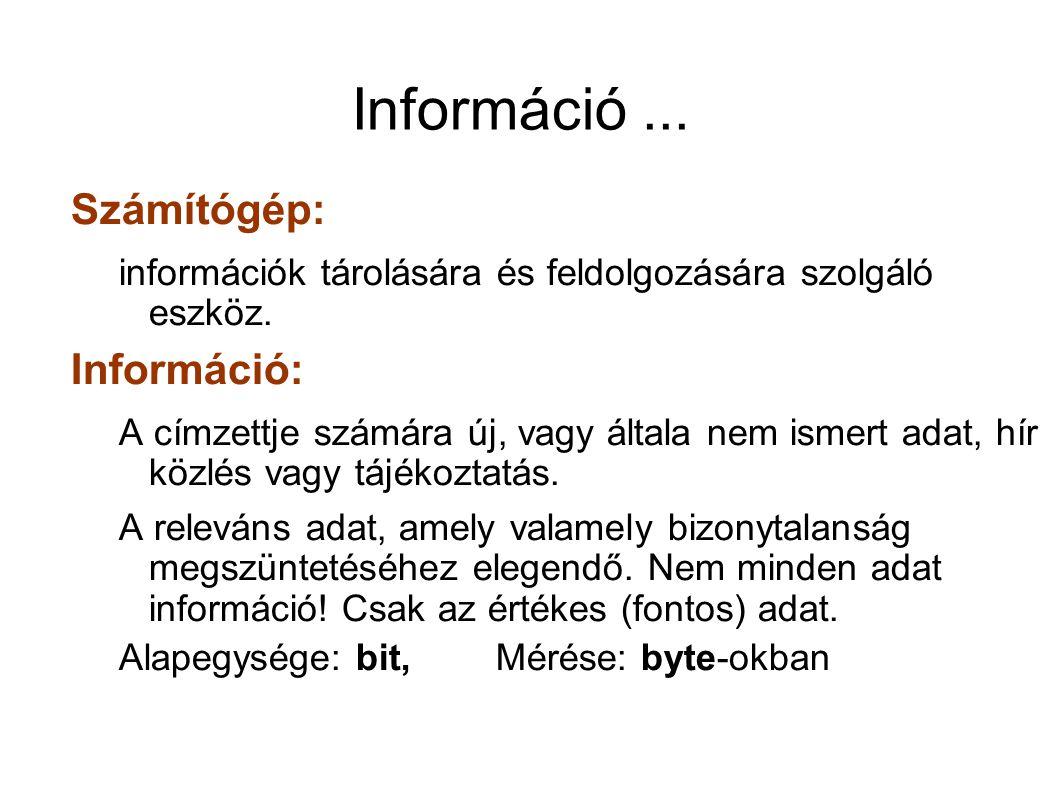 Információ... Számítógép: információk tárolására és feldolgozására szolgáló eszköz. Információ: A címzettje számára új, vagy általa nem ismert adat, h