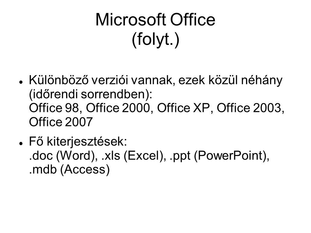Microsoft Office (folyt.) Különböző verziói vannak, ezek közül néhány (időrendi sorrendben): Office 98, Office 2000, Office XP, Office 2003, Office 2007 Fő kiterjesztések:.doc (Word),.xls (Excel),.ppt (PowerPoint),.mdb (Access)