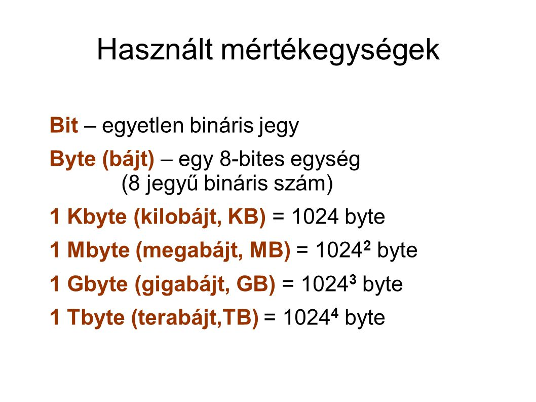Használt mértékegységek Bit – egyetlen bináris jegy Byte (bájt) – egy 8-bites egység (8 jegyű bináris szám) 1 Kbyte (kilobájt, KB) = 1024 byte 1 Mbyte