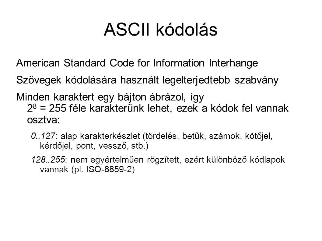 ASCII kódolás American Standard Code for Information Interhange Szövegek kódolására használt legelterjedtebb szabvány Minden karaktert egy bájton ábrá