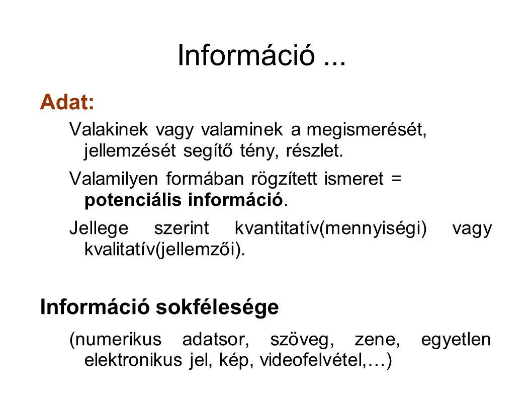Példák Információ tárolása?