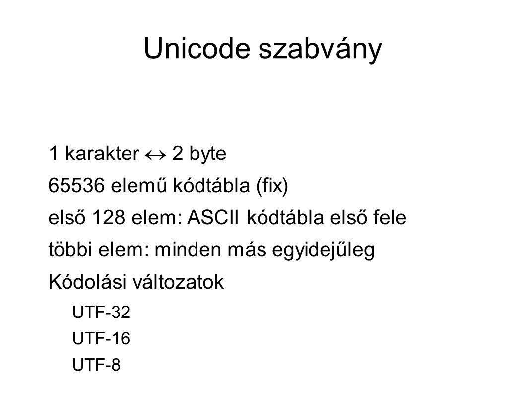 Unicode szabvány 1 karakter  2 byte 65536 elemű kódtábla (fix) első 128 elem: ASCII kódtábla első fele többi elem: minden más egyidejűleg Kódolási változatok UTF-32 UTF-16 UTF-8