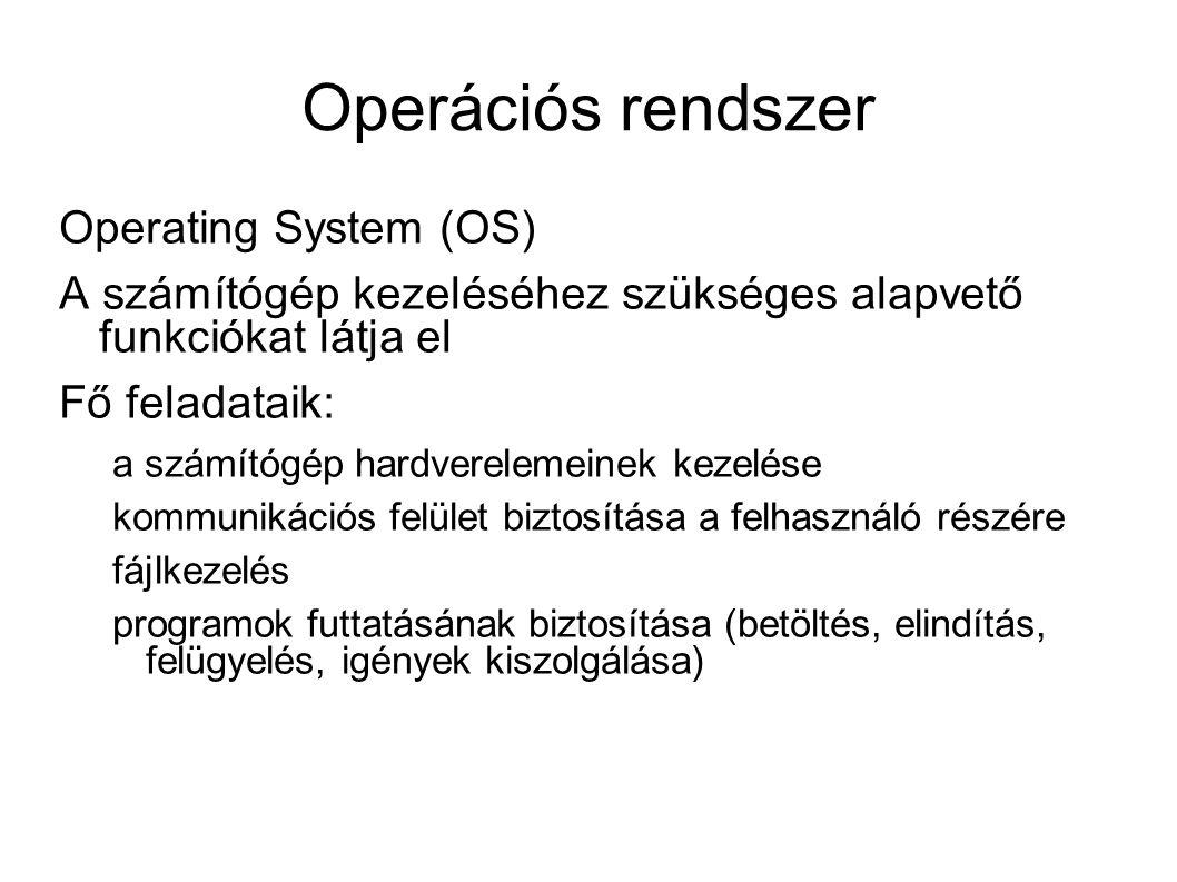 Operációs rendszer Operating System (OS) A számítógép kezeléséhez szükséges alapvető funkciókat látja el Fő feladataik: a számítógép hardverelemeinek