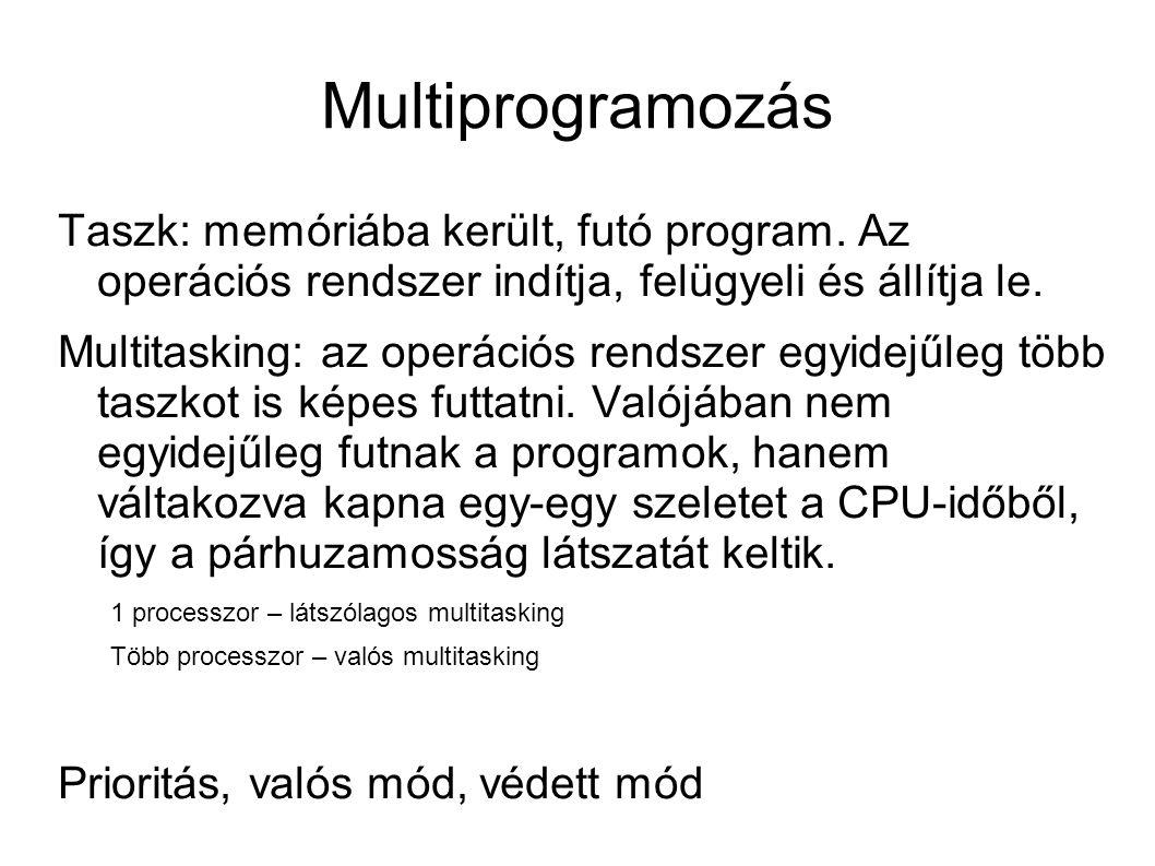 Multiprogramozás Taszk: memóriába került, futó program. Az operációs rendszer indítja, felügyeli és állítja le. Multitasking: az operációs rendszer eg