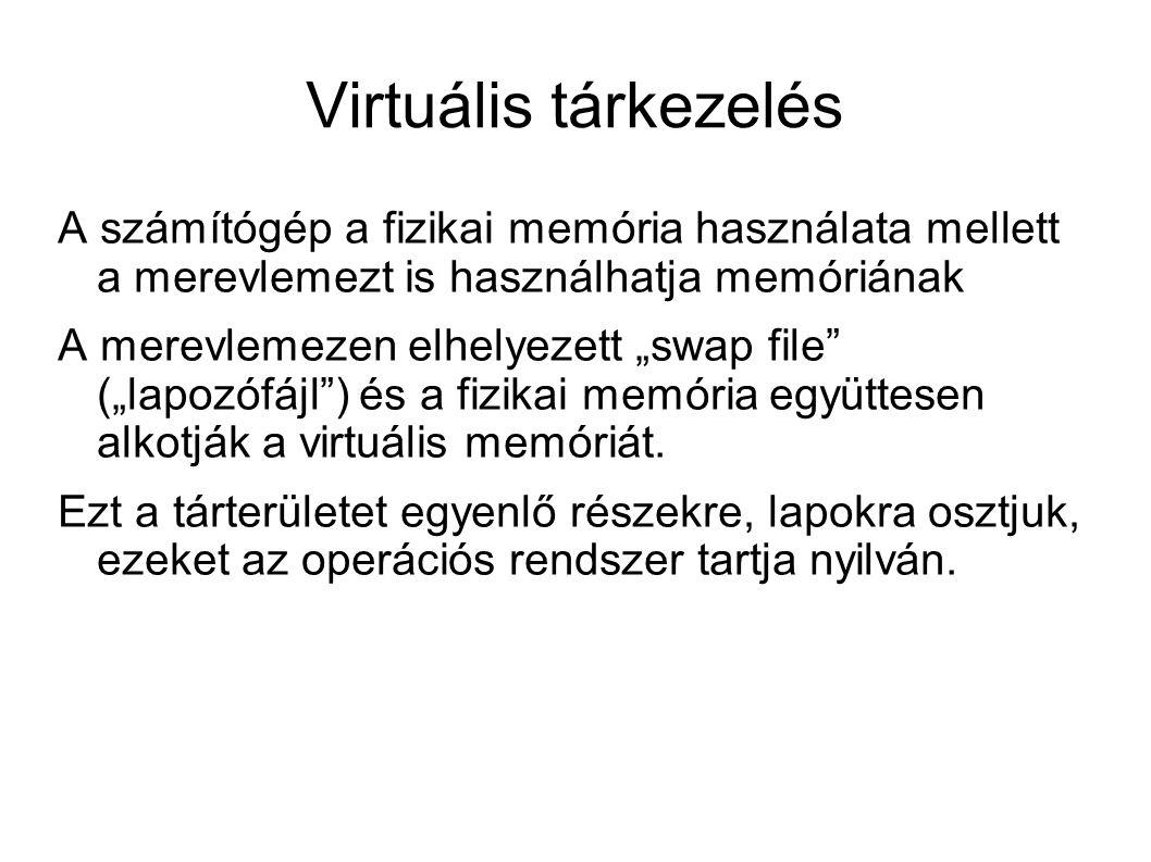 """Virtuális tárkezelés A számítógép a fizikai memória használata mellett a merevlemezt is használhatja memóriának A merevlemezen elhelyezett """"swap file"""""""