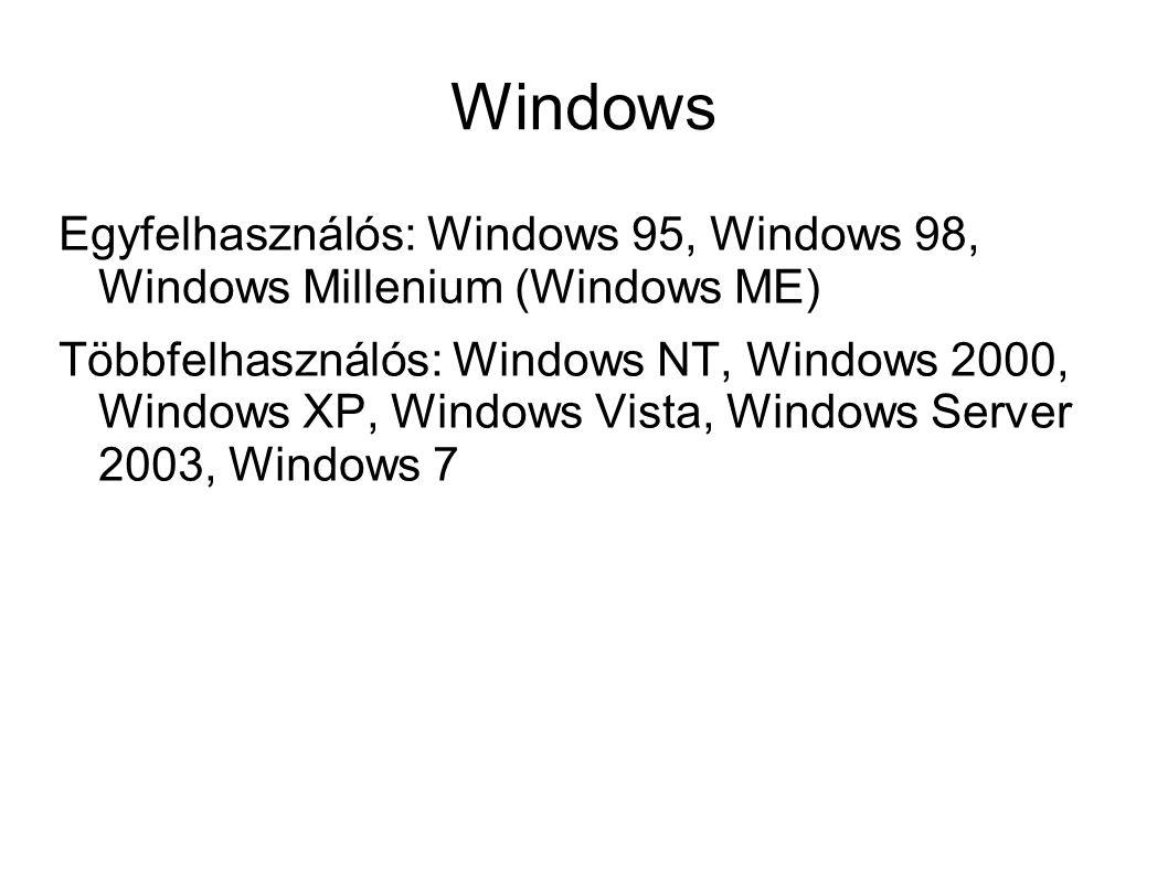 Windows Egyfelhasználós: Windows 95, Windows 98, Windows Millenium (Windows ME) Többfelhasználós: Windows NT, Windows 2000, Windows XP, Windows Vista,