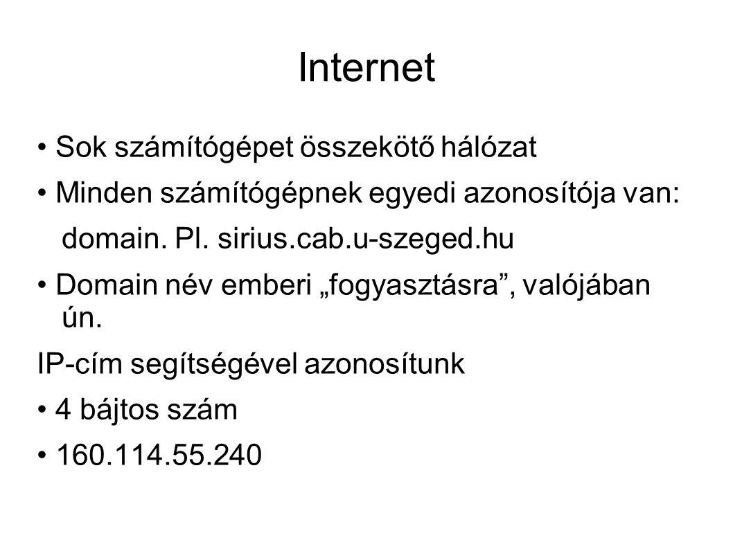 """Internet Sok számítógépet összekötő hálózat Minden számítógépnek egyedi azonosítója van: domain. Pl. sirius.cab.u-szeged.hu Domain név emberi """"fogyasz"""