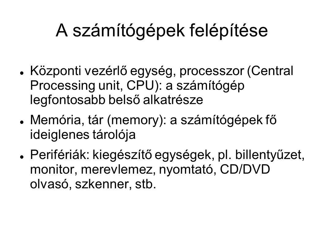 A számítógépek felépítése Központi vezérlő egység, processzor (Central Processing unit, CPU): a számítógép legfontosabb belső alkatrésze Memória, tár