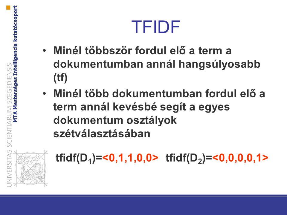 TFIDF Minél többször fordul elő a term a dokumentumban annál hangsúlyosabb (tf) Minél több dokumentumban fordul elő a term annál kevésbé segít a egyes dokumentum osztályok szétválasztásában tfidf(D 1 )= tfidf(D 2 )=