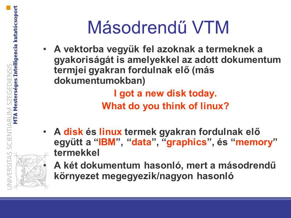 Másodrendű VTM A vektorba vegyük fel azoknak a termeknek a gyakoriságát is amelyekkel az adott dokumentum termjei gyakran fordulnak elő (más dokumentumokban) I got a new disk today.
