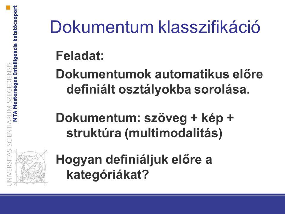 Term-fontosság függvények Dokumentum frekvencia (TFIDF-el ellentmondás?) Valószínűségi függvények A termek és kategóriák marginális, együttes és feltételes valószínűségeiből származnak Pl.: mutual information: log(P(t,c) / P(t)*P(c))