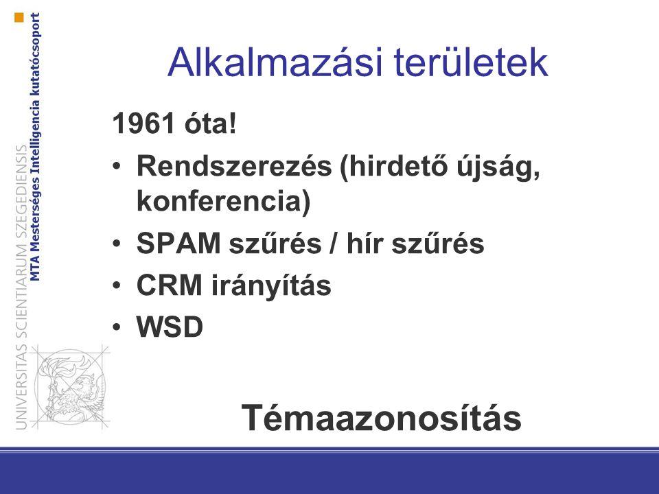 Alkalmazási területek 1961 óta.