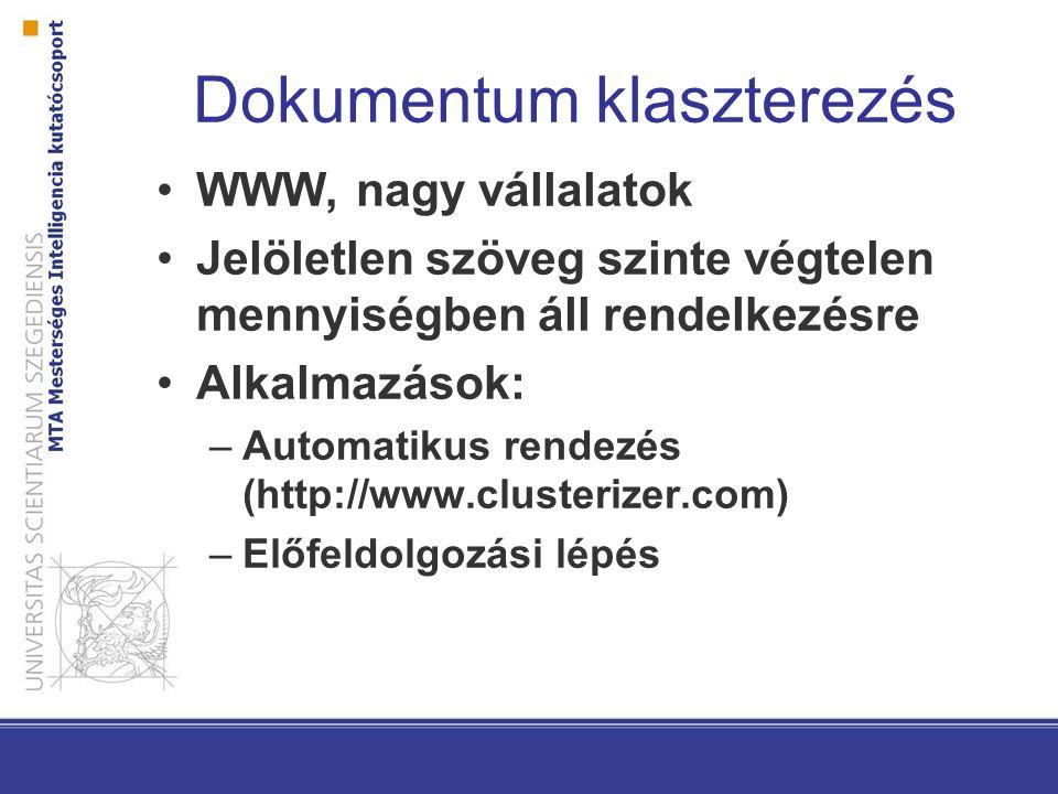 Dokumentum klaszterezés WWW, nagy vállalatok Jelöletlen szöveg szinte végtelen mennyiségben áll rendelkezésre Alkalmazások: –Automatikus rendezés (http://www.clusterizer.com) –Előfeldolgozási lépés
