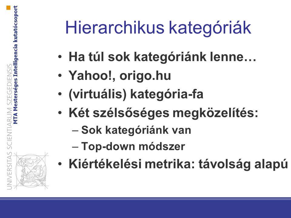 Hierarchikus kategóriák Ha túl sok kategóriánk lenne… Yahoo!, origo.hu (virtuális) kategória-fa Két szélsőséges megközelítés: –Sok kategóriánk van –Top-down módszer Kiértékelési metrika: távolság alapú
