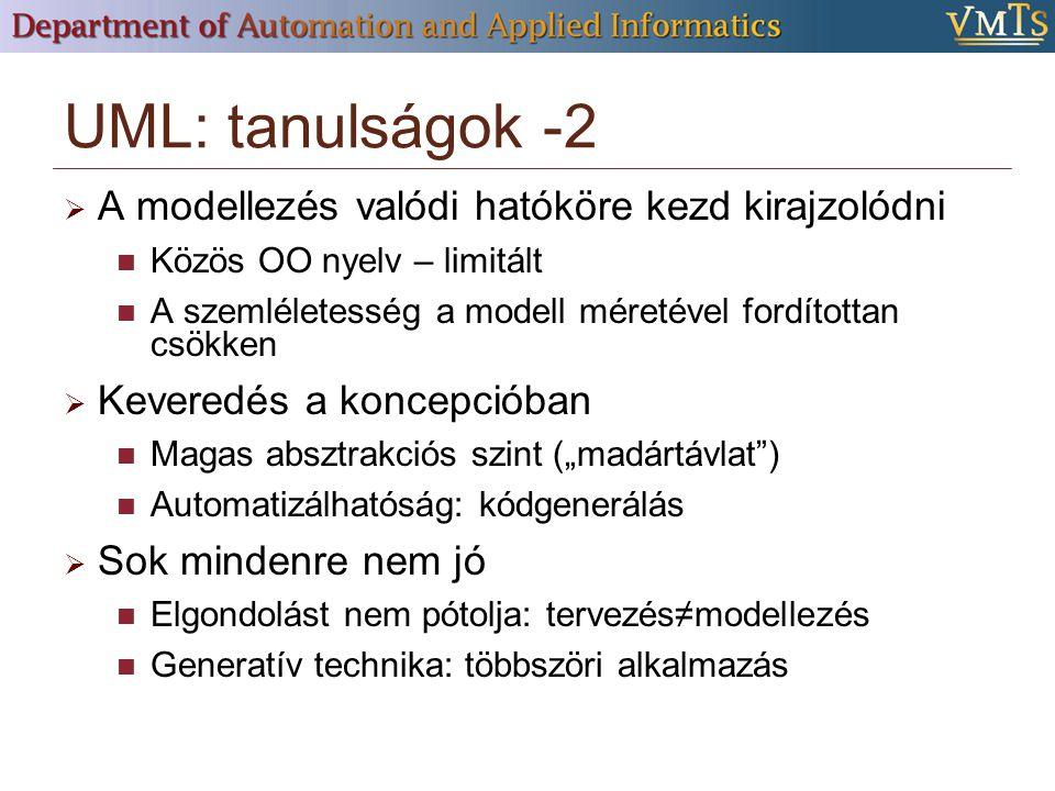 """UML: tanulságok -2  A modellezés valódi hatóköre kezd kirajzolódni Közös OO nyelv – limitált A szemléletesség a modell méretével fordítottan csökken  Keveredés a koncepcióban Magas absztrakciós szint (""""madártávlat ) Automatizálhatóság: kódgenerálás  Sok mindenre nem jó Elgondolást nem pótolja: tervezés≠modellezés Generatív technika: többszöri alkalmazás"""