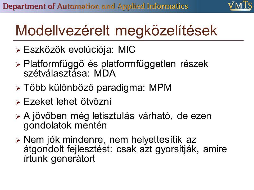Modellvezérelt megközelítések  Eszközök evolúciója: MIC  Platformfüggő és platformfüggetlen részek szétválasztása: MDA  Több különböző paradigma: MPM  Ezeket lehet ötvözni  A jövőben még letisztulás várható, de ezen gondolatok mentén  Nem jók mindenre, nem helyettesítik az átgondolt fejlesztést: csak azt gyorsítják, amire írtunk generátort