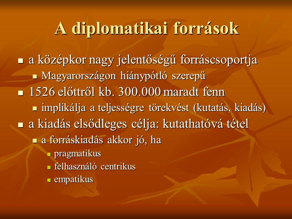 A diplomatikai források a középkor nagy jelentőségű forráscsoportja a középkor nagy jelentőségű forráscsoportja Magyarországon hiánypótló szerepű Magy