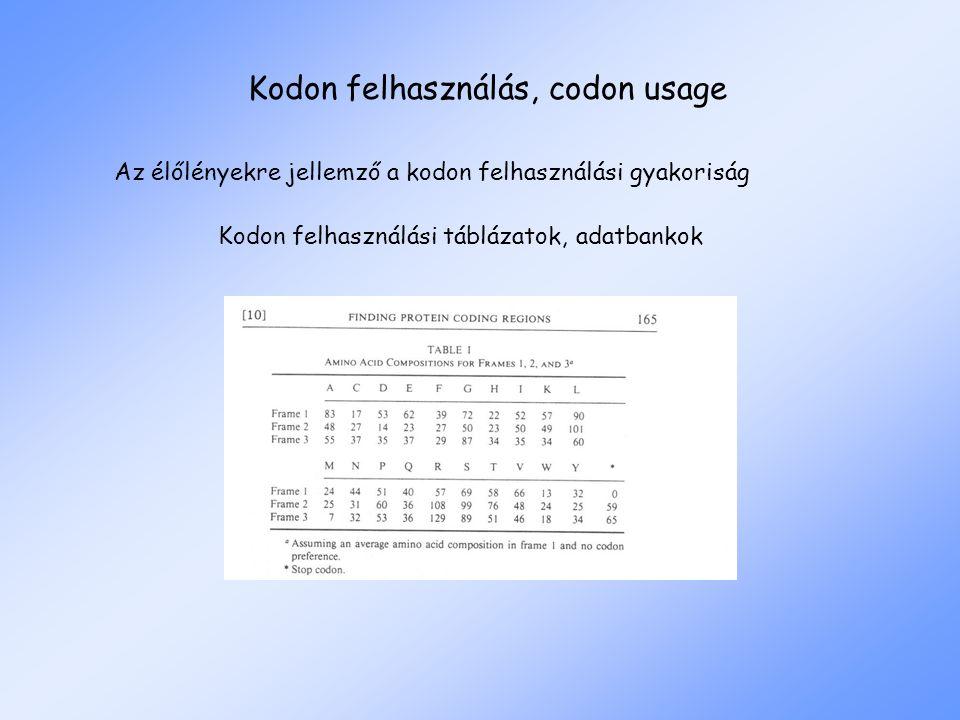 Kodon felhasználás, codon usage Az élőlényekre jellemző a kodon felhasználási gyakoriság Kodon felhasználási táblázatok, adatbankok