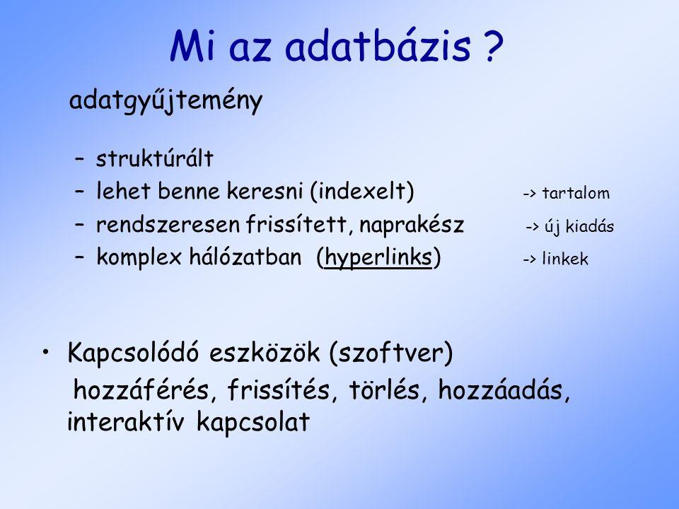 Mi az adatbázis ? –struktúrált –lehet benne keresni (indexelt) -> tartalom –rendszeresen frissített, naprakész -> új kiadás –komplex hálózatban (hyper