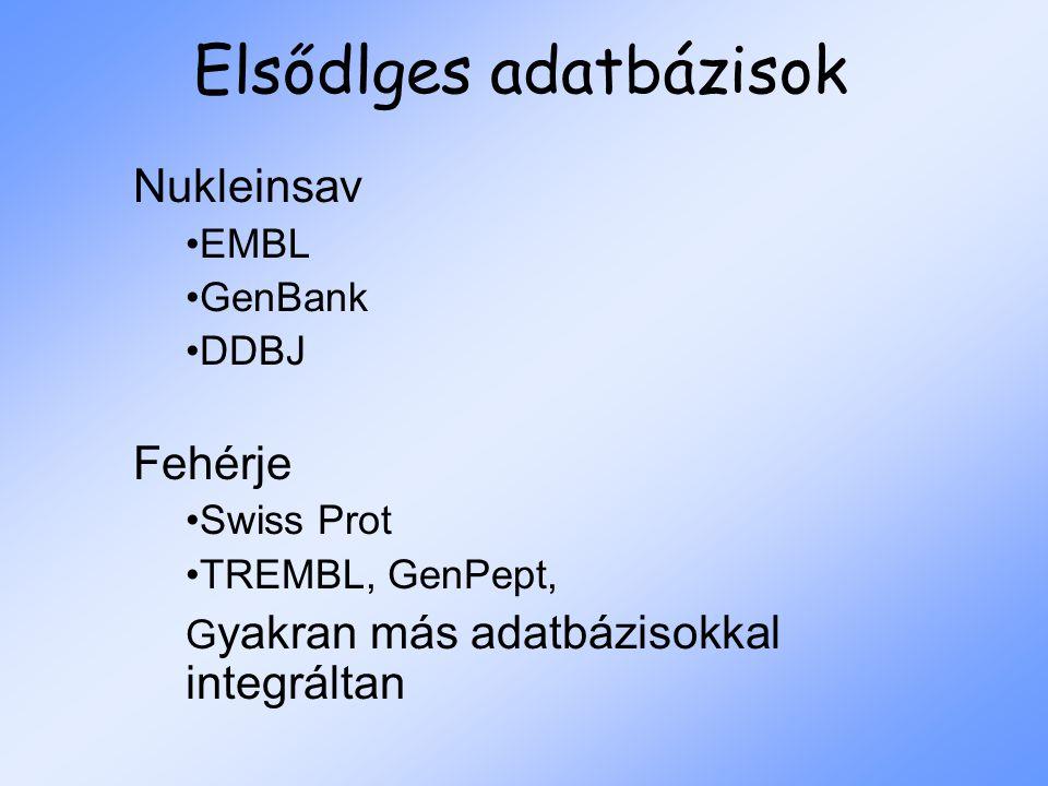 Elsődlges adatbázisok Nukleinsav EMBL GenBank DDBJ Fehérje Swiss Prot TREMBL, GenPept, G yakran más adatbázisokkal integráltan