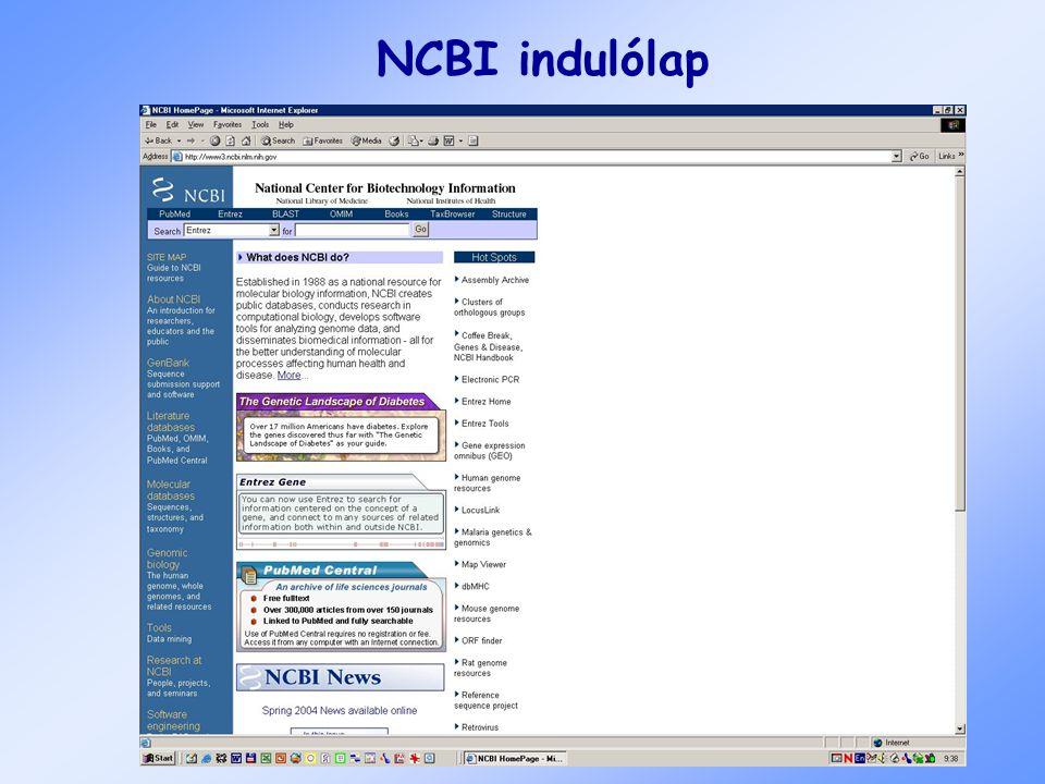 NCBI indulólap