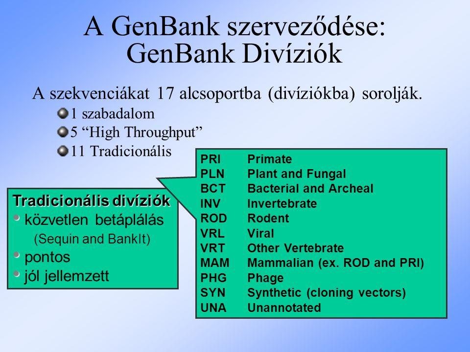 """A GenBank szerveződése: GenBank Divíziók A szekvenciákat 17 alcsoportba (divíziókba) sorolják. 1 szabadalom 5 """"High Throughput"""" 11 Tradicionális Tradi"""