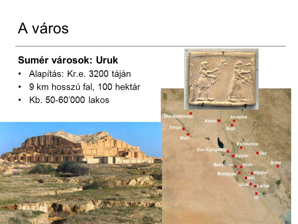 A város Sumér városok: Uruk Alapítás: Kr.e. 3200 táján 9 km hosszú fal, 100 hektár Kb. 50-60'000 lakos