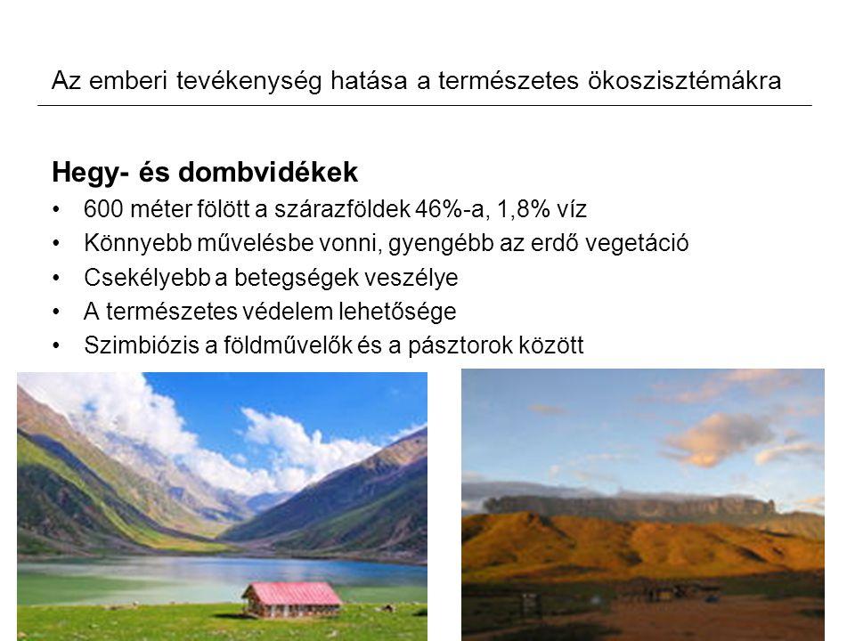 Az emberi tevékenység hatása a természetes ökoszisztémákra Hegy- és dombvidékek 600 méter fölött a szárazföldek 46%-a, 1,8% víz Könnyebb művelésbe von