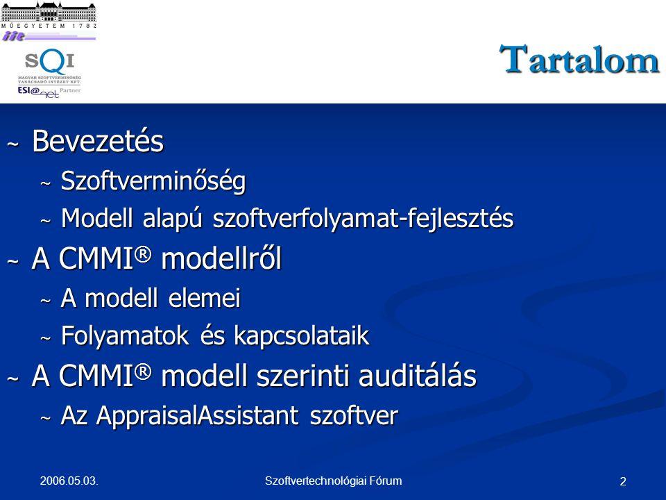 2006.05.03. Szoftvertechnológiai Fórum 43 SCAMPI auditok tapasztalatai