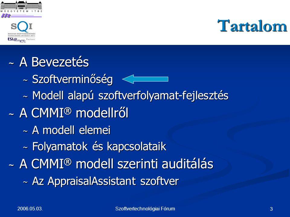 2006.05.03.Szoftvertechnológiai Fórum 4 Szoftverminőség ~ Mi a szoftverminőség.