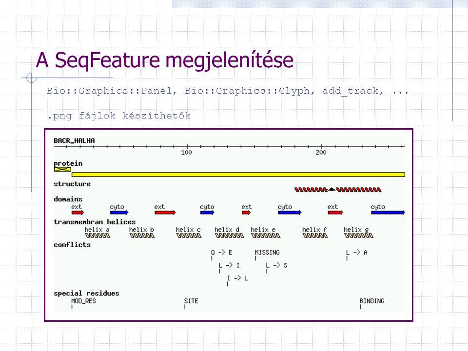 A SeqFeature megjelenítése Bio::Graphics::Panel, Bio::Graphics::Glyph, add_track,....png fájlok készíthetők