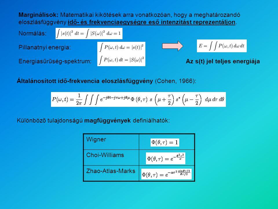 Általánosított idő-frekvencia eloszlásfüggvény (Cohen, 1966): Wigner Choi-Williams Zhao-Atlas-Marks Különböző tulajdonságú magfüggvények definiálhatók: Marginálisok: Matematikai kikötések arra vonatkozóan, hogy a meghatározandó eloszlásfüggvény idő- és frekvenciaegységre eső intenzitást reprezentáljon.