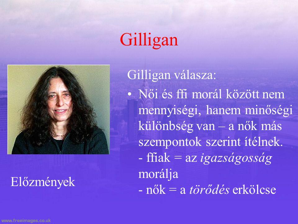 Gilligan Gilligan válasza: Női és ffi morál között nem mennyiségi, hanem minőségi különbség van – a nők más szempontok szerint ítélnek. - ffiak = az i