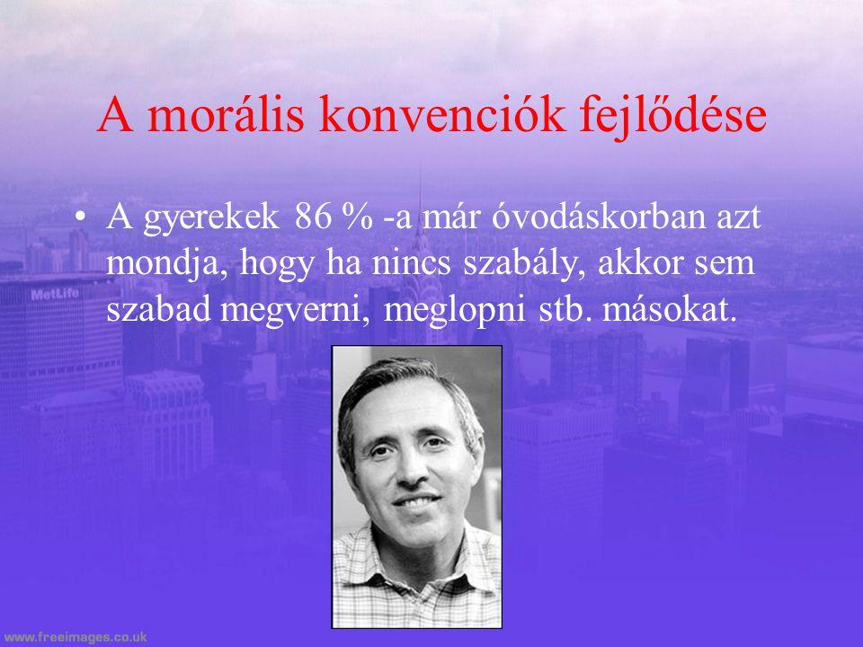 A morális konvenciók fejlődése A gyerekek 86 % -a már óvodáskorban azt mondja, hogy ha nincs szabály, akkor sem szabad megverni, meglopni stb. másokat
