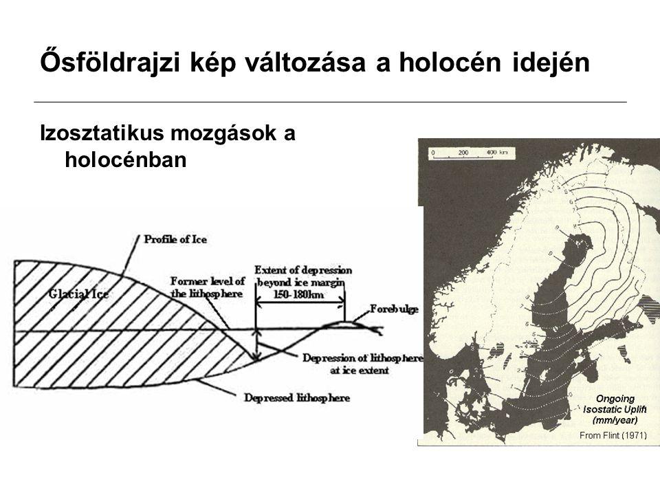 Ősföldrajzi kép változása a holocén idején Izosztatikus mozgások a holocénban