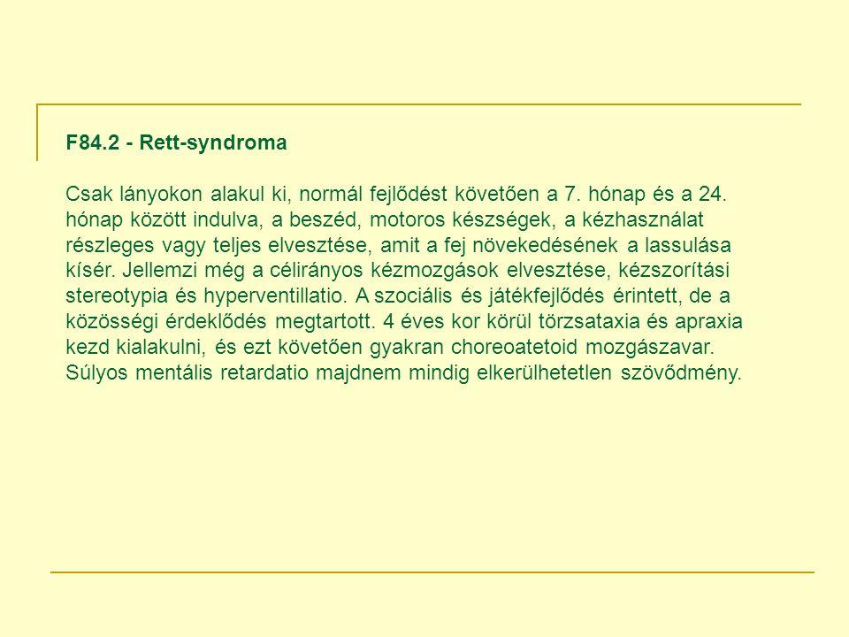 F84.2 - Rett-syndroma Csak lányokon alakul ki, normál fejlődést követően a 7.