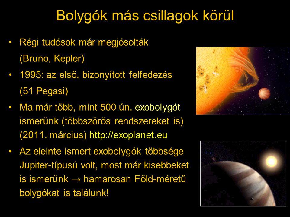 Bolygók más csillagok körül Régi tudósok már megjósolták (Bruno, Kepler) 1995: az első, bizonyított felfedezés (51 Pegasi) Ma már több, mint 500 ún.